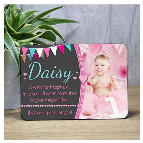 Personalised Girls Hearts & Bunting Happy Birthday Wood Photo Frame F56